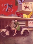 Servi-Cars and Billboards - A woman from the 1930's sitting on a Harley Davidson Servi-Car.