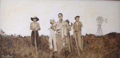 "My sepia painting ""Working the Fields""."