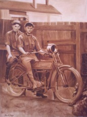 """Backyard Bikers (Paper Print) Paper Print Matted, 11"""" x 17"""", $25 + $3.99 S&H = $28.99 Canvas Print Not Available Details at http://goo.gl/Xrvqwe."""