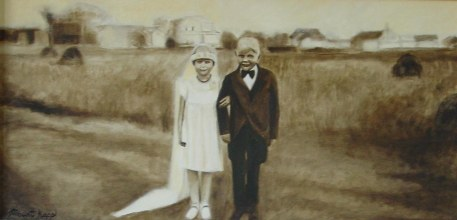 "Wedding Kids 15"" x 30"" Oil on Canvas Framed: Recovered and re-purposed barn-wood. Handcrafted. $350 + S&H (Originally $700) No paper or canvas print available. Details at http://goo.gl/VTGzGe."