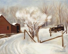 "Winter Farm Scene (10"" x 12.5"") http://goo.gl/m6uwMZ All canvas prints are in limited editions and are signed by me. Copyright (C) reserved."
